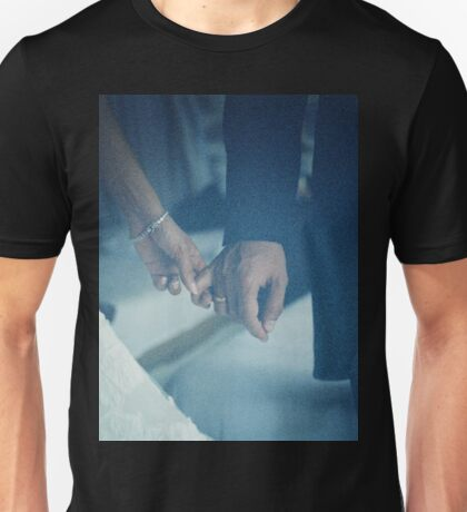 Wedding couple bride groom holding hands analogue film photo Unisex T-Shirt