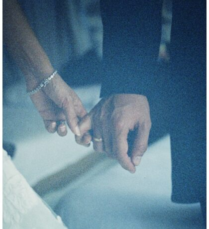 Wedding couple bride groom holding hands analogue film photo Sticker