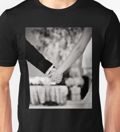 Wedding couple bride groom holding hands back and white photo Unisex T-Shirt