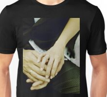 Wedding couple bride groom holding hands analogue film photography Unisex T-Shirt