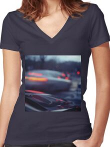 City lights cars in street at dusk Hasselblad medium format analog film Women's Fitted V-Neck T-Shirt