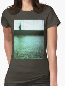 Man walking in city street Hasselblad medium format analog film Womens Fitted T-Shirt