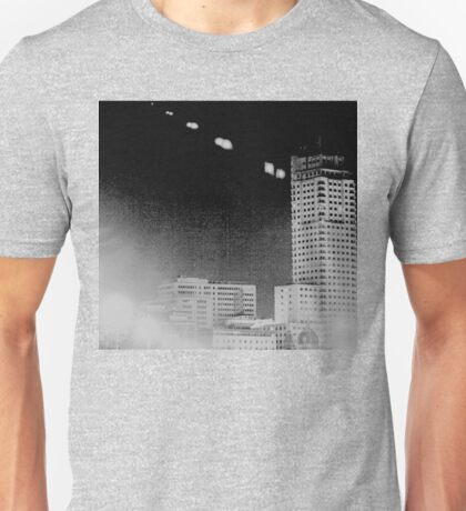 Madrid Spain city skyline at night black and white photograph Unisex T-Shirt