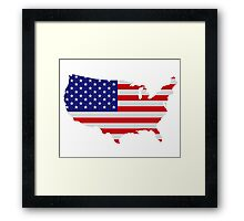 American Flag USA Map Framed Print