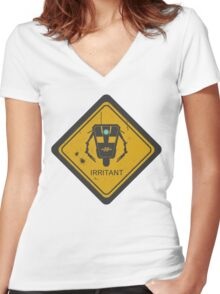 Caution: Irritant Women's Fitted V-Neck T-Shirt