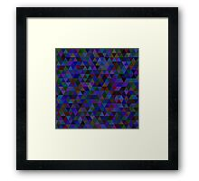 seamless pattern of colored triangles blue and other color Framed Print
