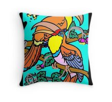 Exotic Birds-rendered by stencil Throw Pillow