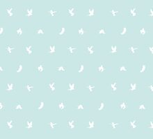 Pattern with white flying birds on bright turquoise background. by Sofia Wrangsjo