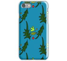seamless pattern of leaves on the blue background iPhone Case/Skin