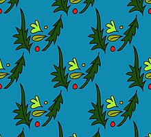 seamless pattern of leaves on the blue background by Ann-Julia