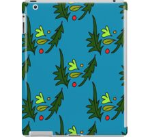 seamless pattern of leaves on the blue background iPad Case/Skin
