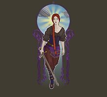 Art Nouveau Steampunk Warrior Womens Fitted T-Shirt