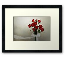 Scarlet Roses with White Ribbon Framed Print