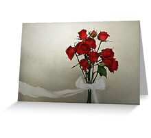 Scarlet Roses with White Ribbon Greeting Card