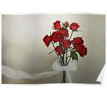 Scarlet Roses with White Ribbon Poster