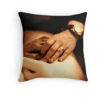Bride and groom holding hands sepia black and white film silver gelatin fine art analog wedding photo Throw Pillow