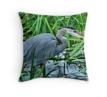 Great Blue on the Hunt Throw Pillow