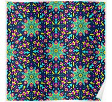 seamless pattern with colorful circular ornament on dark bacground Poster