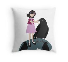 Girl with crows Throw Pillow