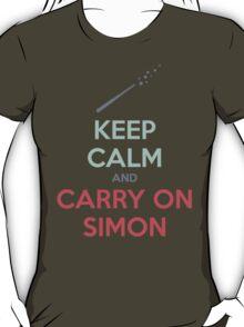 Keep Calm and Carry On Simon—Multi-Color Text T-Shirt