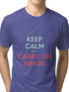 Keep Calm and Carry On Simon (Multi-Color Text) Tri-blend T-Shirt