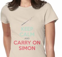 Keep Calm and Carry On Simon (Multi-Color Text) Womens Fitted T-Shirt