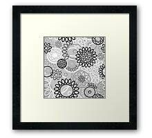 Pattern with black and white elements Framed Print