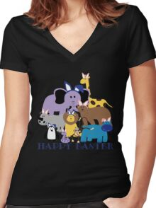 Happy Easter at the Zoo Women's Fitted V-Neck T-Shirt