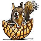 Squirrel In A Nutshell by offleashart