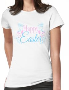 Happy Easter Flowers Design Womens Fitted T-Shirt