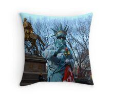 Lady Liberty Waving Throw Pillow