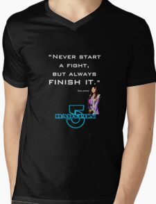 Babylon 5 - Never start a fight (for dark backgrounds) Mens V-Neck T-Shirt