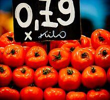 Tomatoes, La Boqueria, Barcelona, Spain by Daniel Webb
