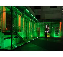 Berlin night scene - Sony center, green  lighting Photographic Print