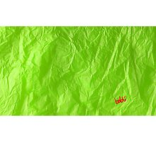 Creased Paper Green Photographic Print