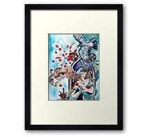 ORIENTAL FAIRY TALE / PRINCESS ,RED ROSES AND FLYING  HAWK Framed Print