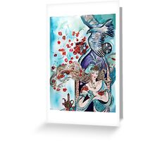 ORIENTAL FAIRY TALE / PRINCESS ,RED ROSES AND FLYING  HAWK Greeting Card