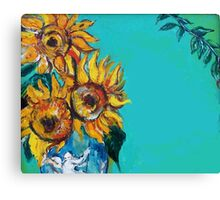 SUNFLOWERS IN BLUE TURQUOISE Canvas Print