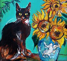 SUNFLOWERS WITH BLACK CAT IN BLUE TURQUOISE  by BulganLumini