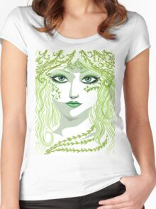 Spring girl face Women's Fitted Scoop T-Shirt