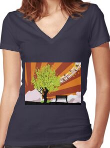 Summer illustration with green tree Women's Fitted V-Neck T-Shirt