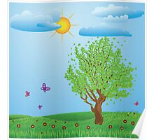 Tree on meadow Poster