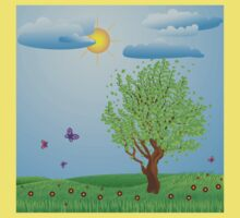 Tree on meadow Kids Clothes