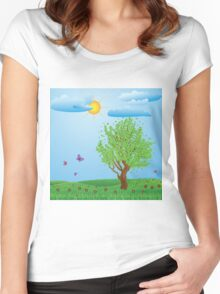 Tree on meadow Women's Fitted Scoop T-Shirt