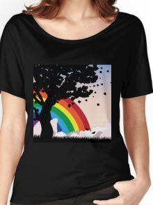 Tree silhouette and rainbow Women's Relaxed Fit T-Shirt