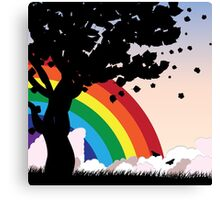Tree silhouette and rainbow Canvas Print