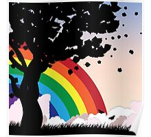 Tree silhouette and rainbow Poster