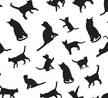 Black Cats - White BG by Shawna Armstrong