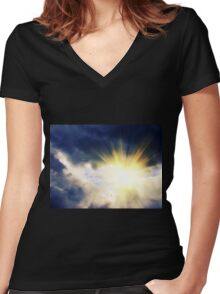 Light through Dramatic Sky 2 Women's Fitted V-Neck T-Shirt