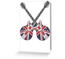 British Mod Union Jack Guitars Greeting Card